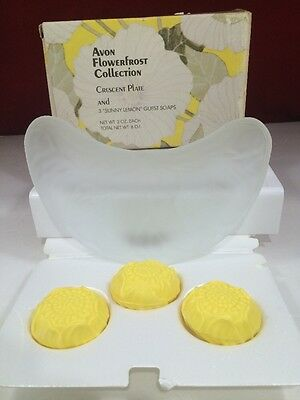 Avon 1979 Flowerfrost Collection~Crescent Plate and 3 Sunny Lemon Soaps! NOS!