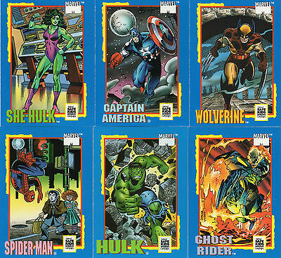 1991 Impel Marvel Trading Card Treats Promo Set of 6 Cards; Hulk, Spider-Man