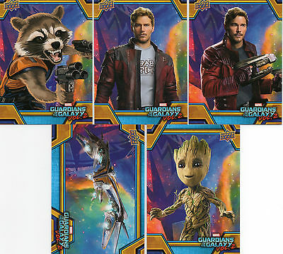 5 2017 Upper Deck Guardians of the Galaxy Volume 2 #RB1, RB6, RB19, RB32 & RB42