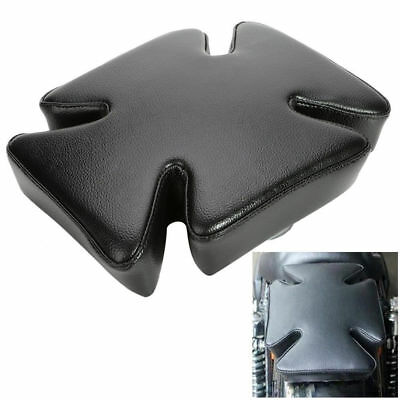 Black Leather Rear Fender Cross Pillion Pad Seat Suction 5 Cups For Harley PE