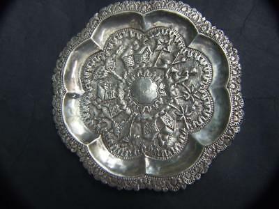Antique Asian Sterling Silver Hand Beaten & Engraved Small Plate 70 gms