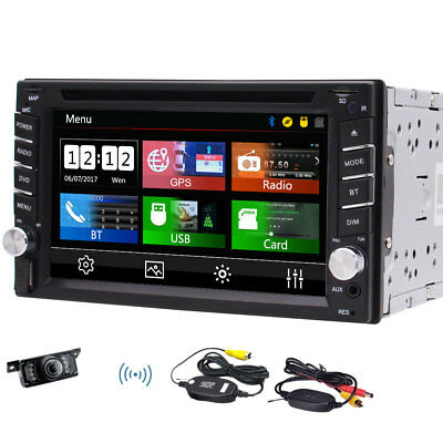HD Double DIN Bluetooth Touch Screen Car Radio Stereo DVD Player GPS Navi Camera