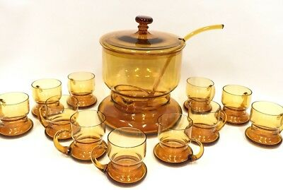 Blown Glass Mid Century Amber Glass Punch Bowl Set With Ladle/11 Glasses