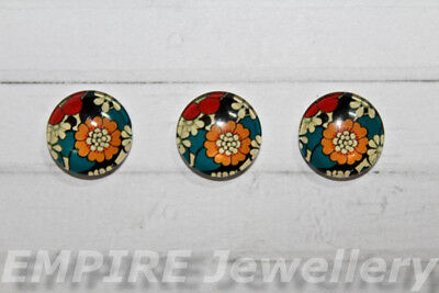 2 x Vintage Style Floral 12x12mm Glass Dome Cabochon Cameo Flower Rose Retro