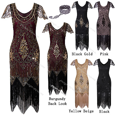 Vintage 1920s Flapper Beaded Fancy Gatsby Party Evening Cocktail Dress Plus Size