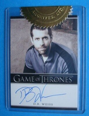 2013 GAME Of THRONES Season 2 Auto/AutoGraph D.B. WEISS Executive PRODUCER *3CI*