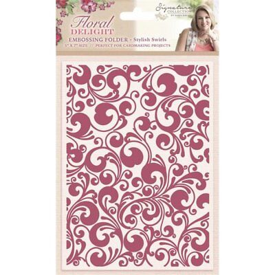 "SALE New Sara Davies  Embossing Folder 5"" x 7"" Stylish Swirls"