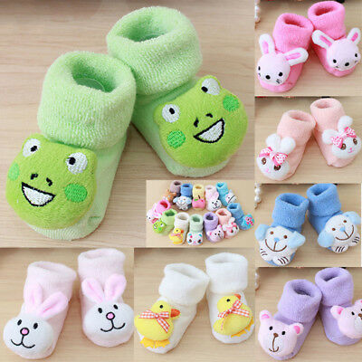 Cartoon Newborn Kids Baby Girls Boys Anti-Slip Warm Socks Slipper Shoes Boots US