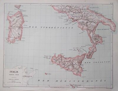 Map Of Southern Italy Sicily Europe C1900 Library De Hachette