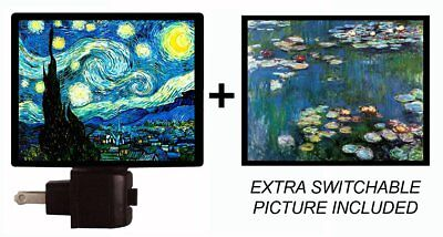 Night Light and Extra Picture - Starry Night and Water Lilies
