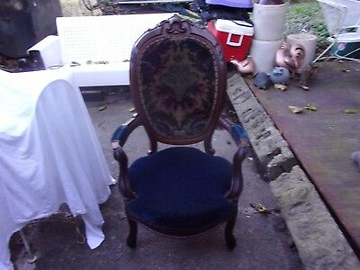 Victorian Cobalt Blue Hand Carved Parlor Chair ~ Super Nice