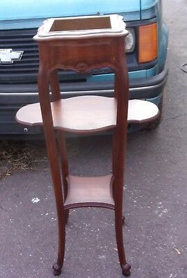 Old 3 Tier Plant Stand With Copper Insert & Queen Anne Legs