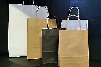 Brown / Black / White Kraft Paper Carrier Bags With Twisted Handles Eco Friendly