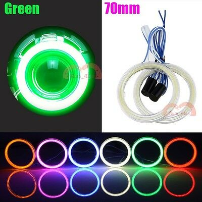2pcs 70mm Green Car Motorcycle Headlight Angel Eyes Halo Cob LED Ring Lights DRL