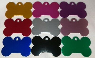 Pet Tag ALUMINIUM DOG BONE TAGS, 9 Colours with Engraving Options