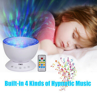 LED Light Ocean Wave Projector Music Night Light Baby Relax Sleep Lamp W/Remote