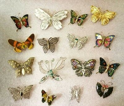 VINTAGE Lot of 16 BUTTERFLY Brooches Pins Enamel RHINESTONE Shell Metal FILIGREE