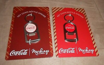 Lot of 2 Coca-Cola Key Chain Bottle Opener - Metal White/Red - Brand NEW, Pkg.