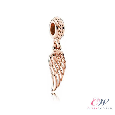 Rose Gold Angel Wing Charm 925 Silver for Charm Bracelet