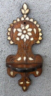 Antique Style Old Wood-Carved Plateau With Mother-Of-Pearl Inlay