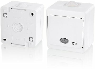 IP54 Moisture-Proof Switch with Light Symbol + LED Light – All in One – Frame +