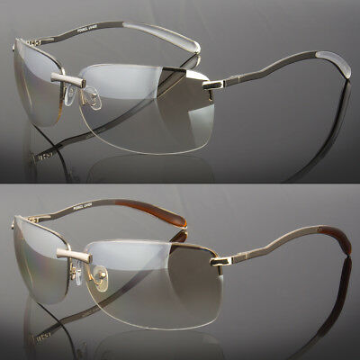 Mens Rectangular Rimless Designer Sunglasses Shades Eyewear Silver Gold Color