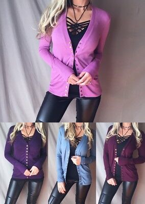 SEXY Low Cut V-Neck Long Sleeve Knit Snap Button Cardigan Fitted Sweater Top