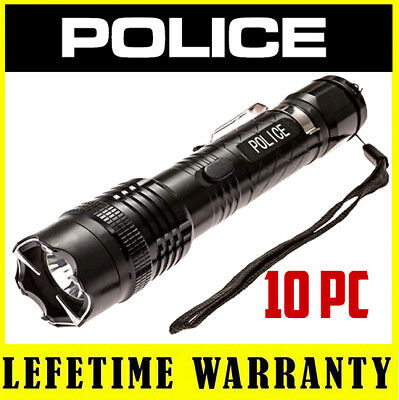 10 POLICE Stun Gun 1158 58 BV Max Voltage Metal Rechargeable LED Flashlight