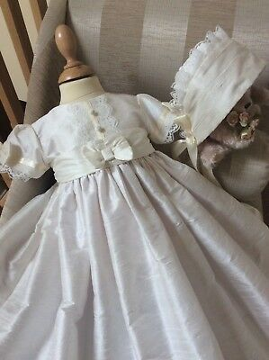 Christening Gown Bonnet - Girls Silk Baptism Dress - Naming Dedication Ceremony