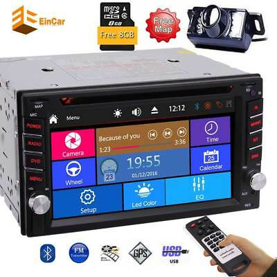 Bluetooth Touch Screen Double 2DIN Car Stereo GPS Radio DVD Player HD Camera
