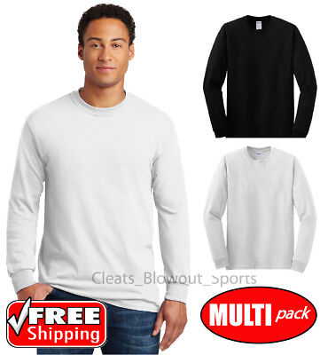 6 Pack Gildan Long Sleeve T Shirt Mens Undershirt White Black 3 4 12 24 Lot 5400