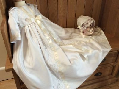 Christening Gown - Girls Baptism Dress - Baby Bonnet - Lace - Dedication, Naming
