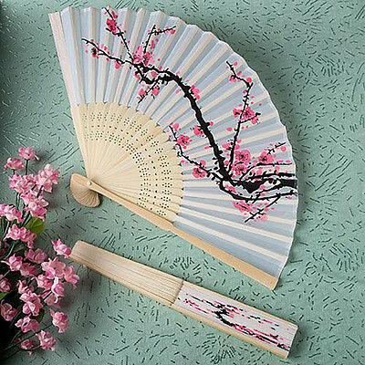 Chinese Folding Hand Fan Japanese Cherry Blossom Design Silk Costume Party Decor