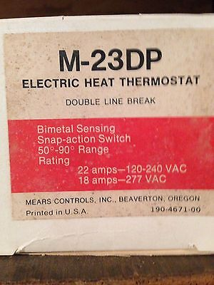 Mears M23DP (M-23DP) Electric Heat Thermostat LOT OF 2