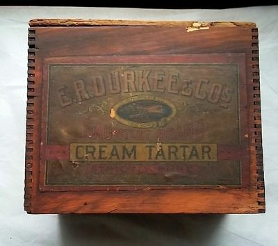 Antique Wooden Spice Crate, Durkee & Co. Gauntlet Brand Cream Tartar