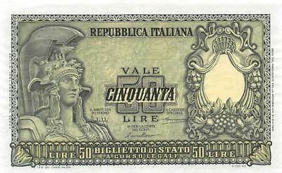 Italy 50 Lire, 1951, P.91 Almost Uncirculated  AU/Unc