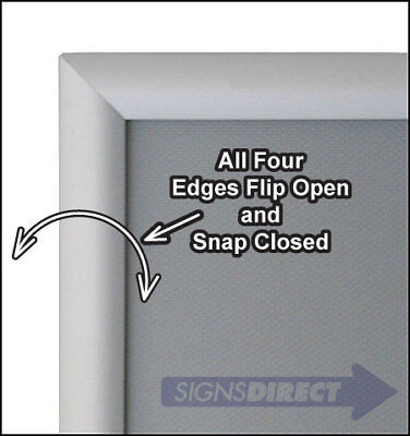 Snap Open Quick Change Sign Frame - 8 inch x10 inch Silver with Square Corners
