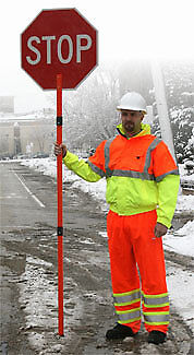 24 inch Reflective Stop/Slow Sign Paddle w/2-pc 6 ft pole