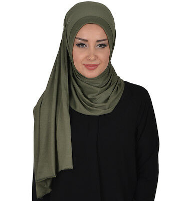 Islamic  Easy Ready Muslim Hijab Practical Instant Cotton Jersey Hijab Shawl