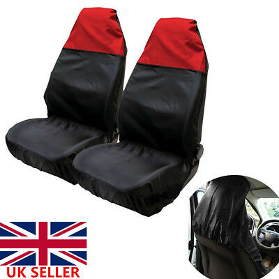 2xUniversal Waterproof Heavy Duty Car Van Seat Front Covers Protector Bucket RED