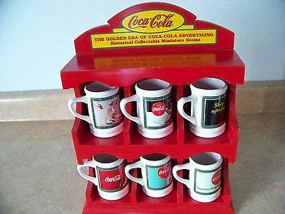 Coca Cola Historical Collectible 6 Miniature Steins With Red Display Case