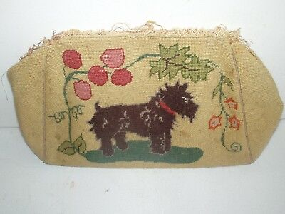 Antique Completed Needlepoint 1 Side Scottish Terrier Dog & 1 Side Elephant RARE