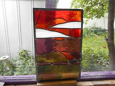 Sunset Stained Glass Window Panel Suncatcher Artist Signed And Dated
