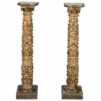 Pair of 17th Century Spanish Giltwood Column Pedestals with Birds and Putti