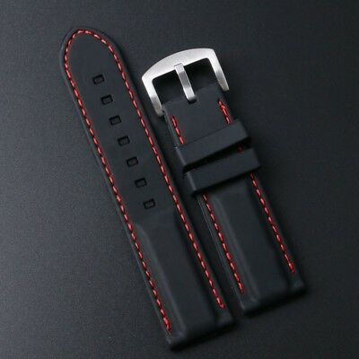 18mm/20mm/22mm/24mm Black Silicone Rubber Watch Band Strap with Red Line Stitch