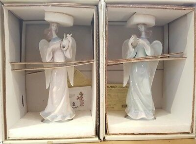 Lladro #5949  Candle Holder Set of 2 Angel w/ Lyre Lladro Angel With Tambourine