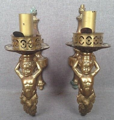 Pair of antique french bracket lamps made of bronze mid-1900's angels