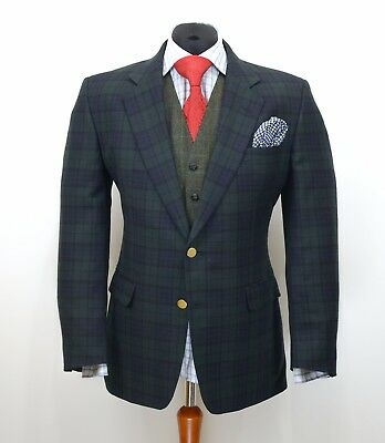 Mens DAKS Vintage Blazer Jacket Check Pure Wool Size EU52 / UK42