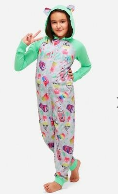 """NWT Justice Girl's """"frappe #chillin"""" One-Piece Pajamas. Sizes 6/7, 14/16 & 18/20"""