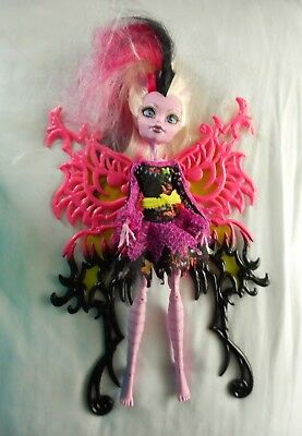 MONSTER HIGH DOLL Freaky Fusion BONITA FEMUR Doll Pink Black Wings Hybrid